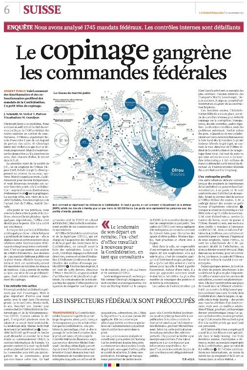Publication d'une infographie dans un média papier.