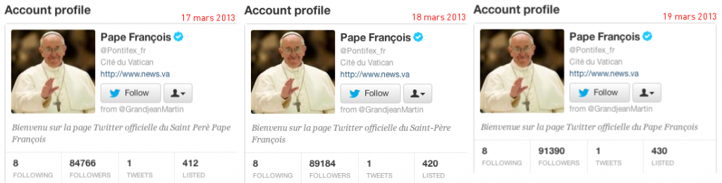 Profil Twitter du pape François @Pontifex_fr