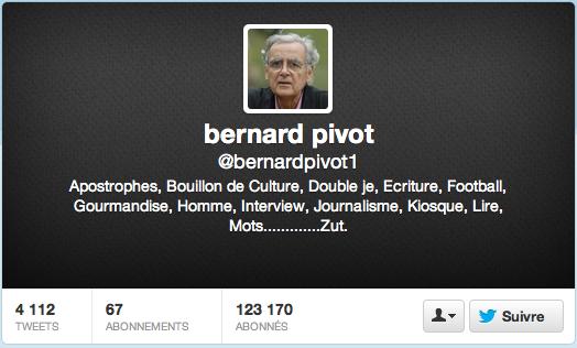 Le compte Twitter de Bernard Pivot