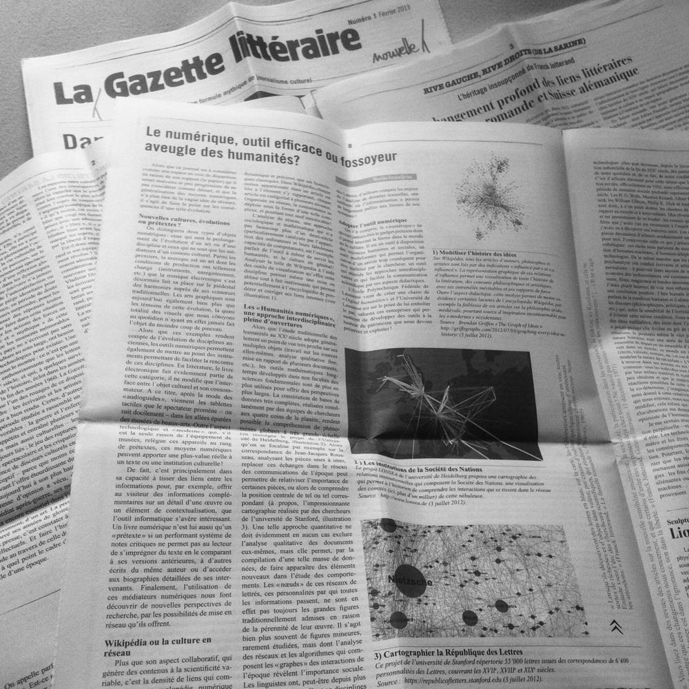 """Ce point de vue a été publié dans la """"Gazette littéraire"""" de février 2013"""