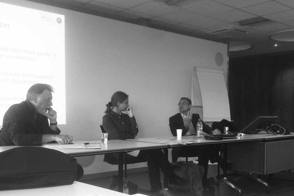 Bruno Bachimont, conférence à l'Université de Genève (à gauche, Didier Devriese, discutant)