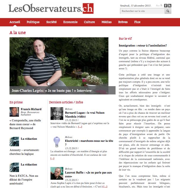 """Page d'accueil de """"Les Observateurs"""" ce 13.12.2013"""