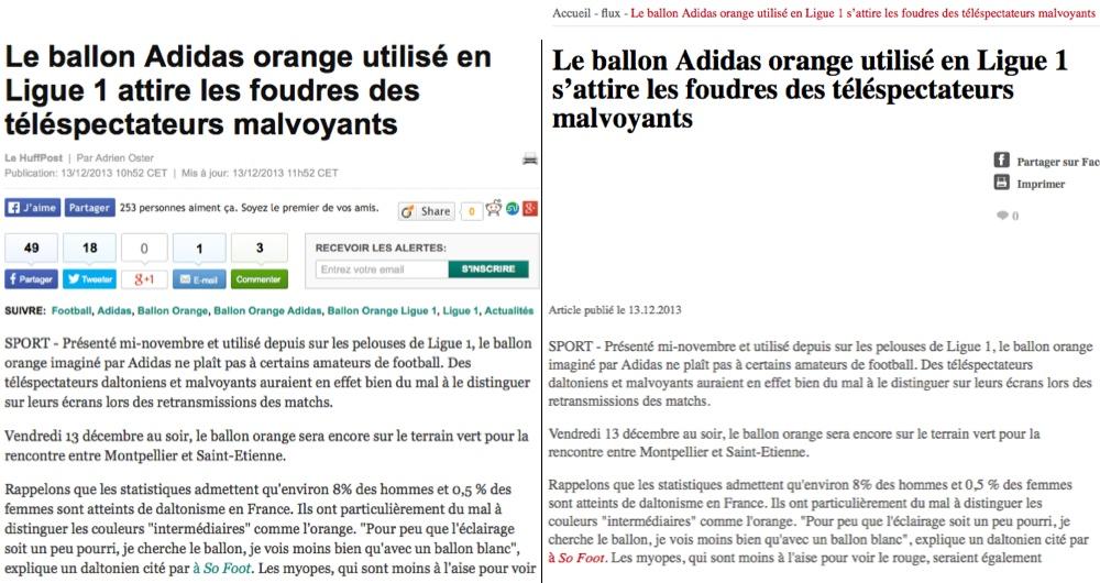 """L'article du """"HuffingtonPost"""" (à gauche) comparé à celui de """"Les Observateurs"""" (à droite)"""