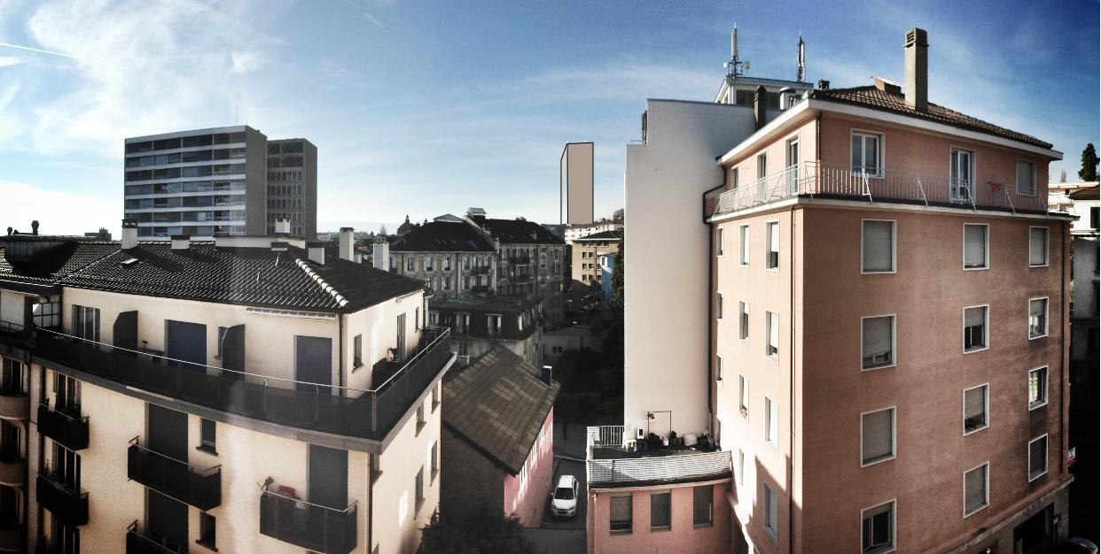Vue de la future tour de Beaulieu (Taoua), Lausanne