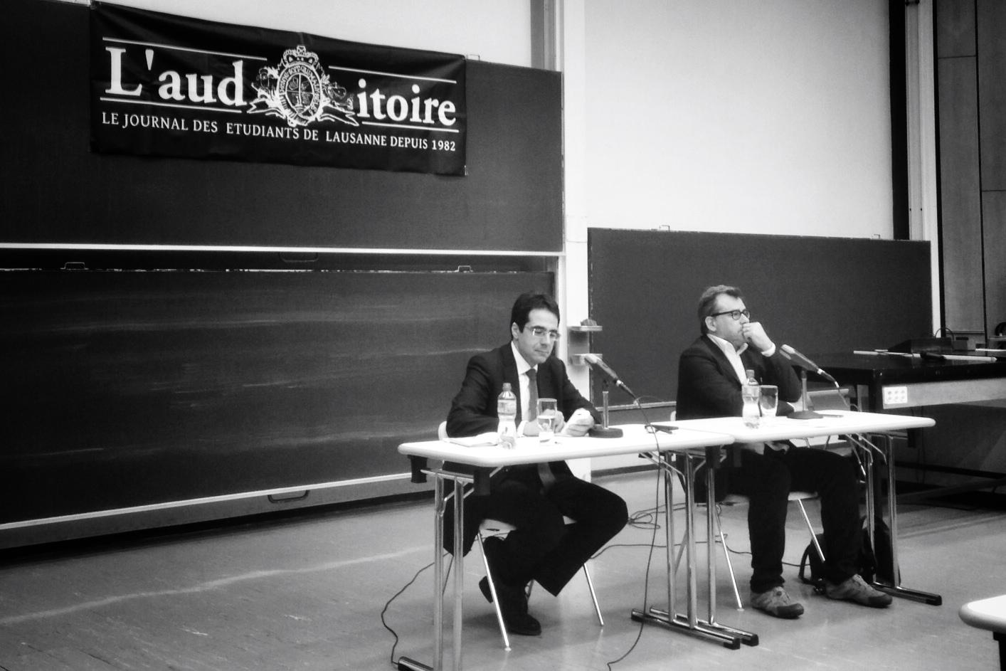 Darius Rochebin (RTS) et Fabio Lo Verso (La Cité) à l'Université de Lausanne
