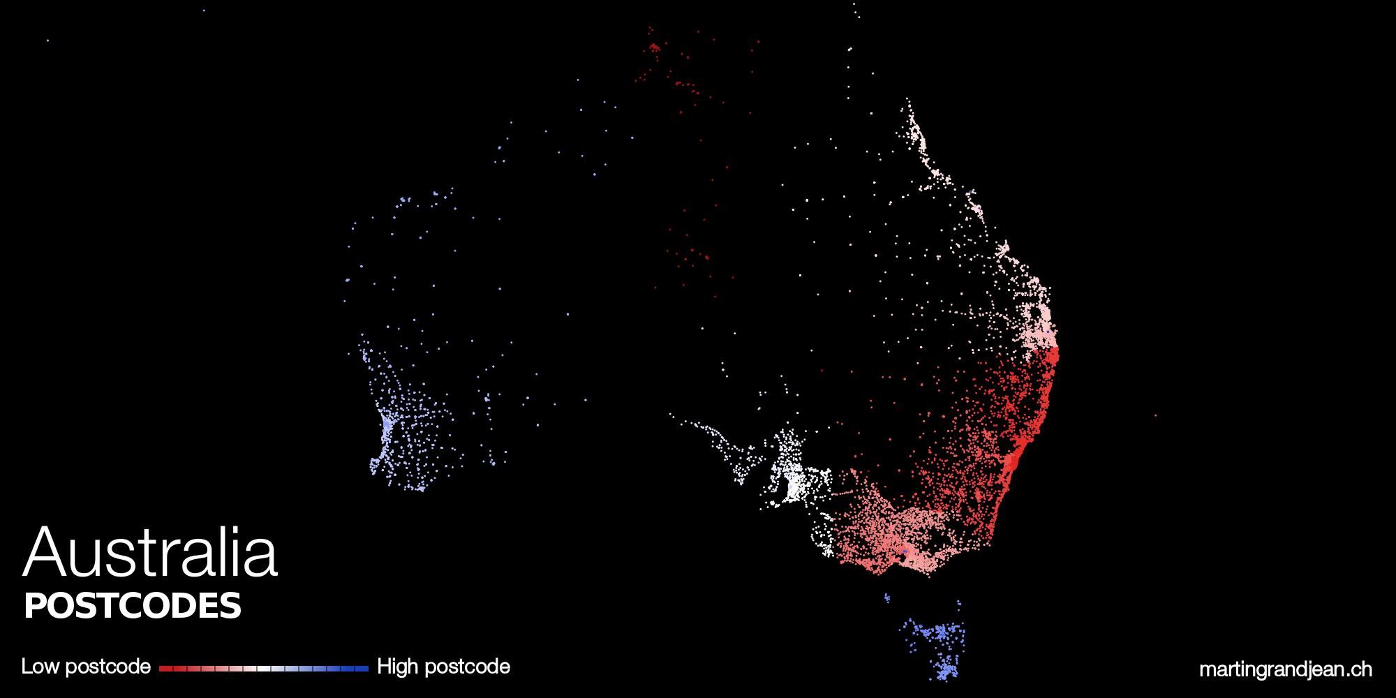 Australia postcodes mapping