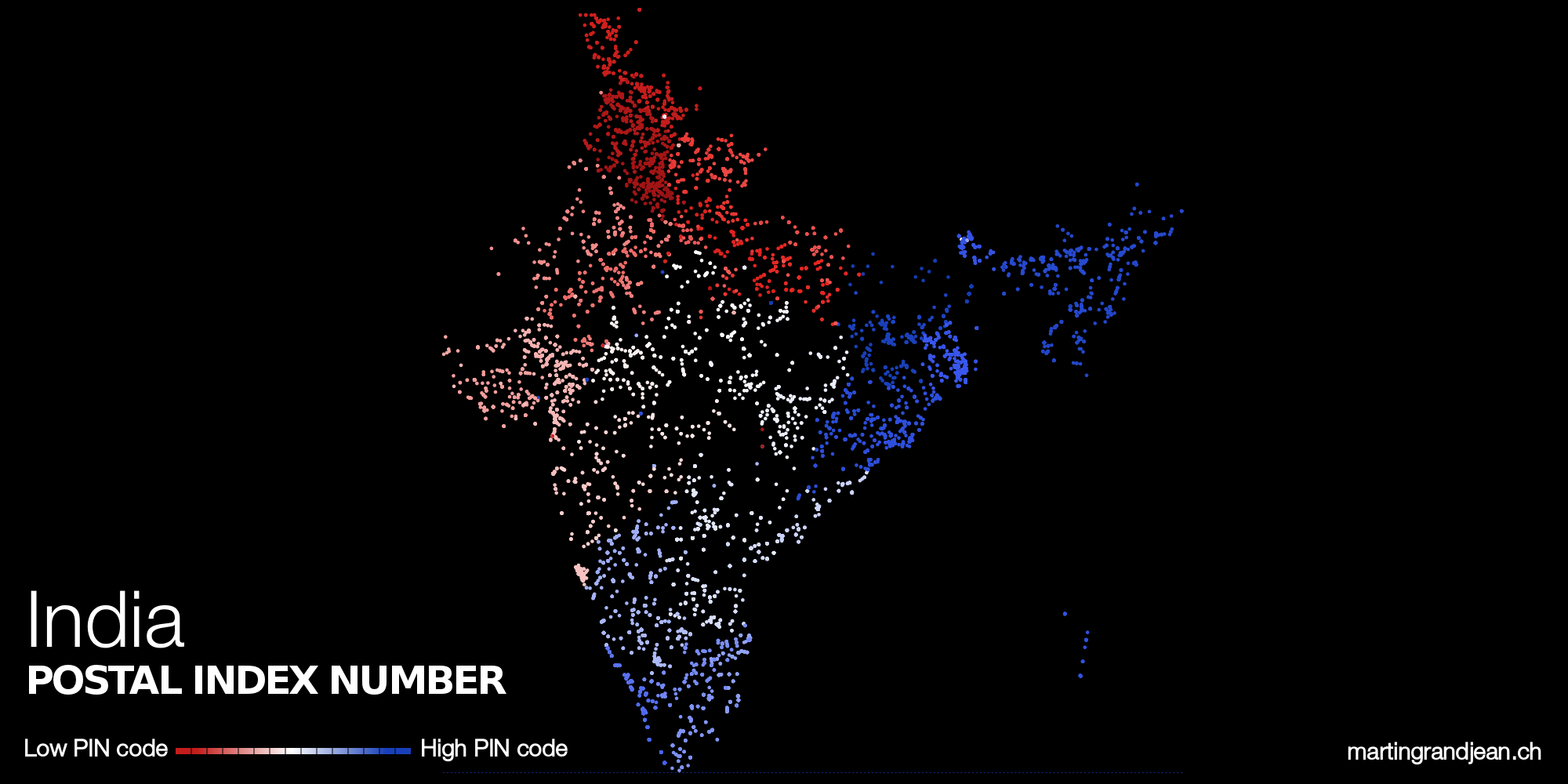 India PIN codes map