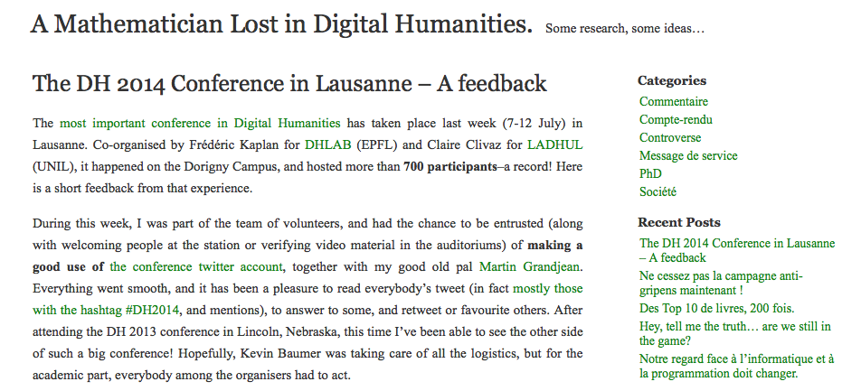 This post is a collaboration with Yannick Rochat, with which I hosted the official Twitter account of the congress, which took care of archiving and data processing. He also published a post that I recommend: The DH 2014 Conference in Lausanne - A feedback.