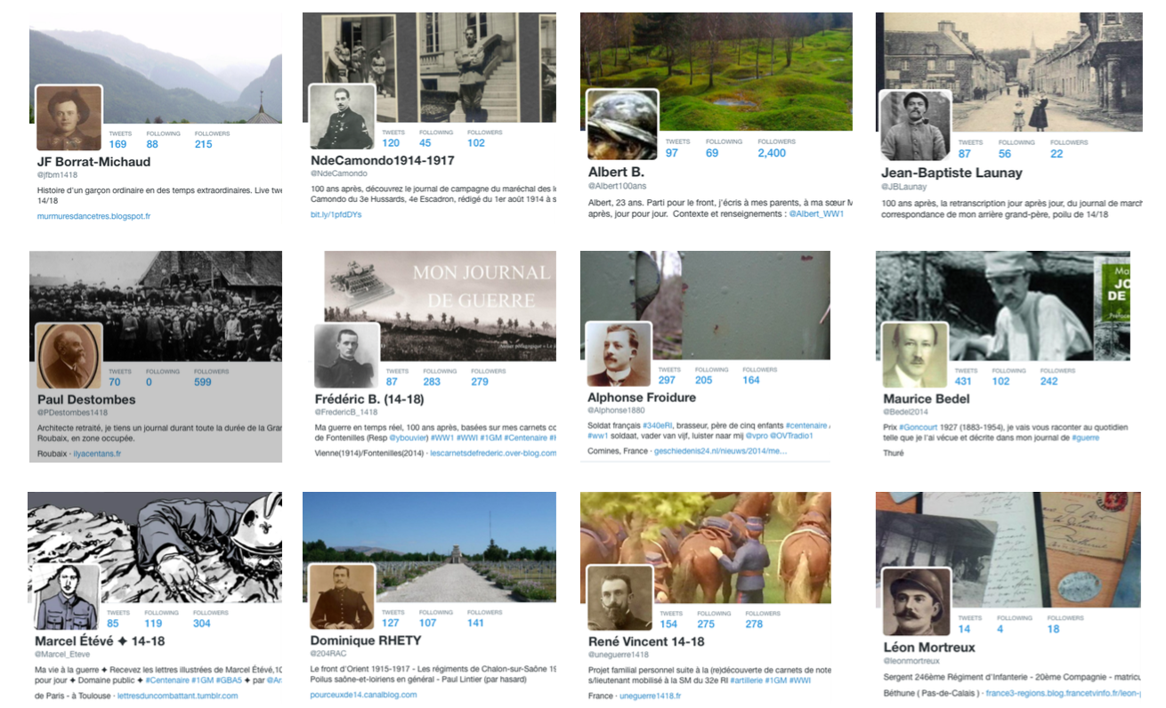 Since the beginning of the First World War commemorations, many Twitter accounts of french soldiers emerged.