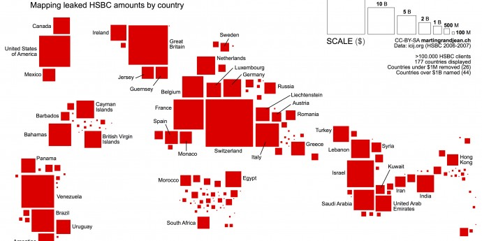 Map of the HSBC accounts amounts per country. Full size here.